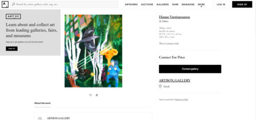 My artwork presented on the art platform Artsy