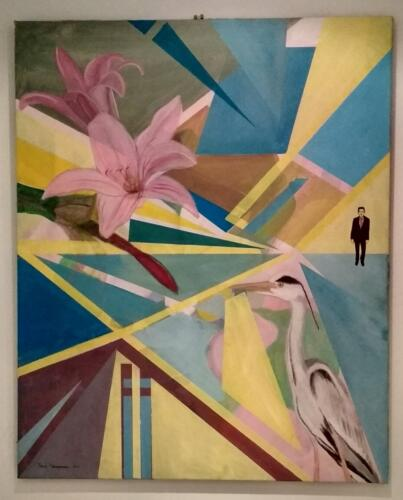 The arrival of the Heron, Acrylic on canvas, 100cm x 80cm